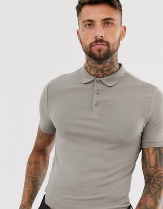 BEIGE Asos Design ASOS DESIGN organic muscle fit jersey polo in