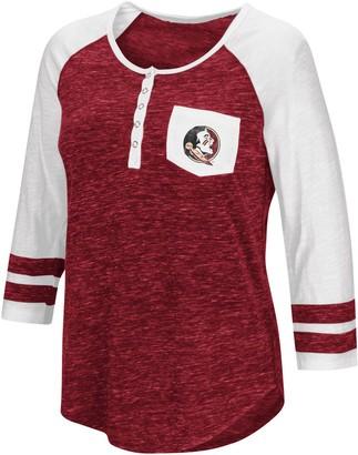 Colosseum Women's Heathered Garnet Florida State Seminoles Inconceivable! Three-Quarter Sleeve Pocket Henley