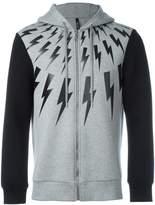 Neil Barrett lightning print zipped hoodie