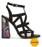 Miss Selfridge Caged Embroidered Block Heel