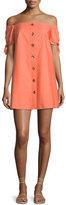 Amanda Uprichard Bryant Off-the-Shoulder Button-Front Cotton Dress