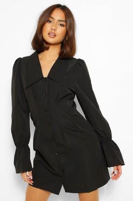 boohoo Puff Sleeve Oversized Collar Shirt Dress