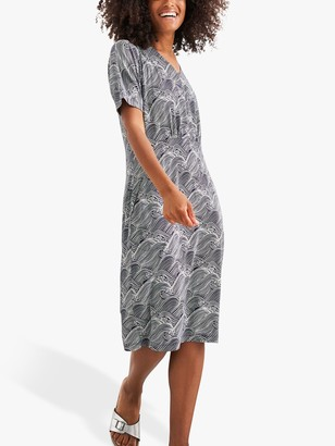 White Stuff Alicia Wave Print Shift Dress, Blue