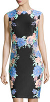 Chetta B Floral-Trim Sleeveless Sheath Dress, Black/Coral