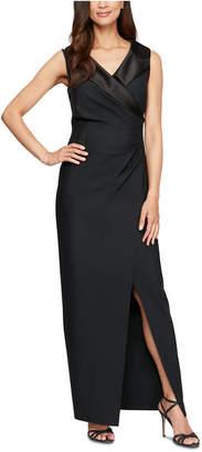 Alex Evenings Petite Satin-Collar Wrap Gown