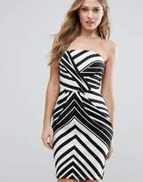 Lipsy Mono Stripe Bandeau Pencil Dress