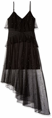 AVEC LES FILLES Women's Studded Dress with Asymmetrical Hem