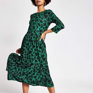 River Island Green floral long sleeve midi smock dress