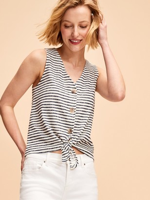 Old Navy Cropped Tie-Hem Textured-Knit Sleeveless Top for Women