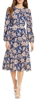 Brinker & Eliza Floral Long Sleeve Pebble Crepe Dress