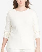 Lauren Ralph Lauren Plus Size Zip-Shoulder Long-Sleeve T-Shirt