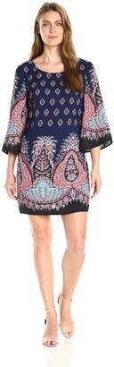 Sangria Women's Paisley Sheath Dress with Bell Sleeves