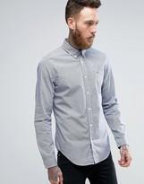 Lacoste Slim Fit Check Shirt 2 Tone Stretch Poplin in Blue