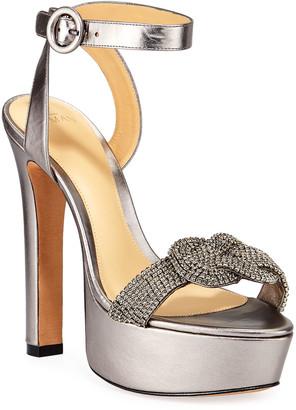 Alexandre Birman Vicky Metallic Crystal Platform Sandals