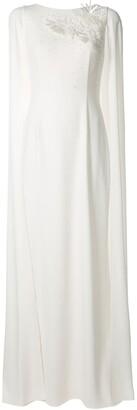 Paule Ka Floral Tulle-Sleeve Gown