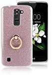Moonmini LG K8 2016. Case Cover Sparkling Slim Fit Soft TPU Back Case Cover with Ring Grip Stand Holder 2 in 1 Hybrid Glitter Bling Bling TPU phone Case Cover (Pink)