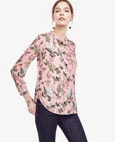 Ann Taylor Botanical Pleated Blouse