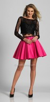 Dave and Johnny Two Piece Long Sleeve Lace Embellished Homecoming Dress