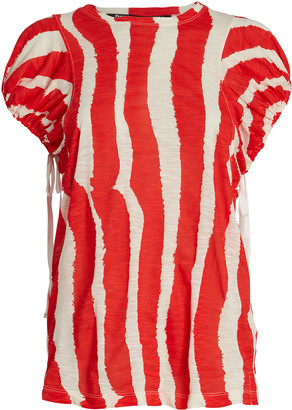Proenza Schouler Zebra-Striped Drawstring T-Shirt