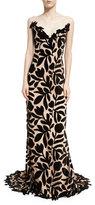 Oscar de la Renta Floral Lace Strapless Column Gown