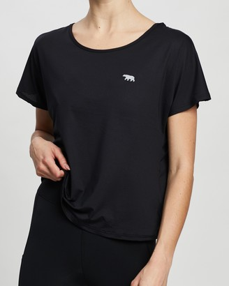 Running Bare Women's Black Short Sleeve T-Shirts - Flip It And Reverse It Cropped Workout Tee - Size 20 at The Iconic