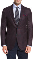 Isaia Gun-Check Two-Button Sport Coat, Burgundy/Navy