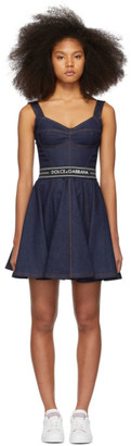 Dolce & Gabbana Blue Denim Circle Skirt Dress