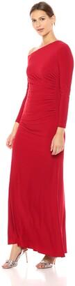 Adrianna Papell Women's Long Sleeve Asymmetrical Neckline Jersey Dress