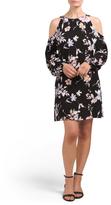 Juniors Cold Shoulder Printed Dress