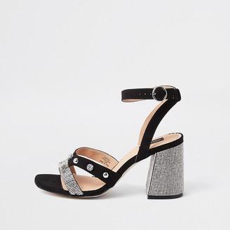 River Island Black wide fit studded block heel sandal