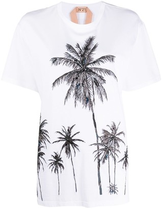 No.21 palm tree-embroidered T-shirt