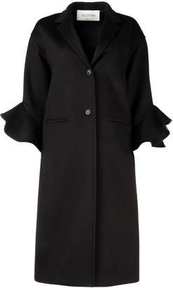 Valentino Ruffle Trim Straight Coat