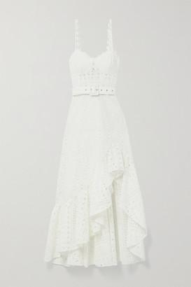 Charo Ruiz Ibiza Julie Belted Ruffled Broderie Anglaise Cotton-blend Midi Dress - White