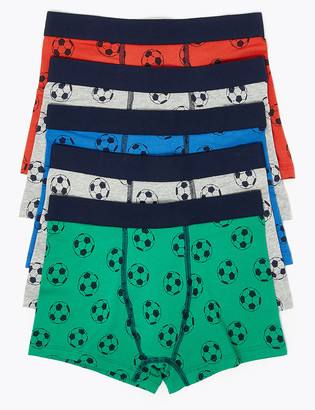 Marks and Spencer 5 Pack Cotton Rich Football Print Trunks (2-16 Yrs)