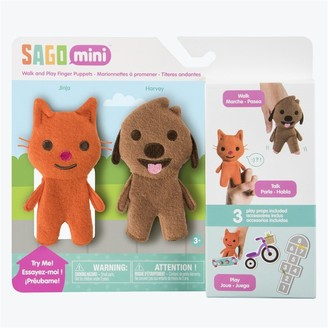 Sago Mini Fabric Finger Puppets Walk and Play Jinja Cat and Harvey Dog