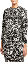 MICHAEL Michael Kors Animal Jacquard Crewneck Long-Sleeve Sweater