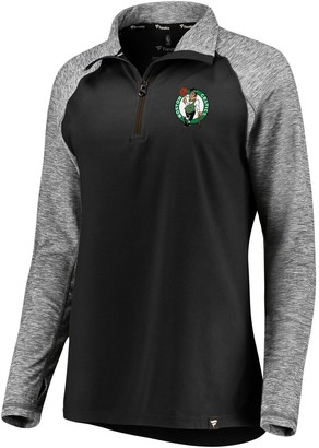 Möve Women's Fanatics Branded Black/Heathered Black Boston Celtics Made to Static Performance Raglan Sleeve Quarter-Zip Pullover Jacket