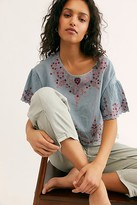 Free People Adriana Woven Tee by Free People, Ivory, XS