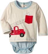 Hatley Fire Truck Doggie Lift Long Sleeve Mini One-Piece (Infant)