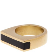 Soko Black Horn Line Inlay Ring - Size 7