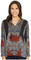 Tribal Long Sleeve Printed Blouse w/ Tassel at Collar Women's Blouse