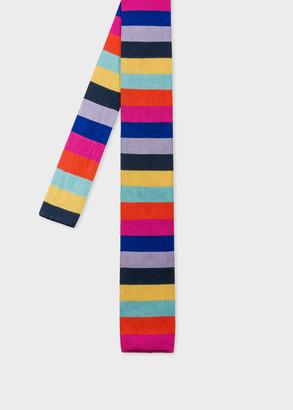 Paul Smith Men's Multi-Coloured Stripe Knitted Silk Tie