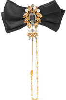Dolce & Gabbana Satin, Gold-tone And Swarovski Crystal Brooch - one size
