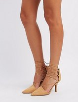 Charlotte Russe Qupid Lace-Up Pointed Toe Pumps