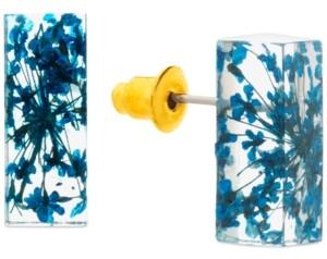 Steve Madden Gold-Tone Encapsulated-Flower Rectangular Stud Earrings
