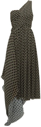 Preen by Thornton Bregazzi Jerica Geometric-print Pleated-chiffon Dress - Black Multi