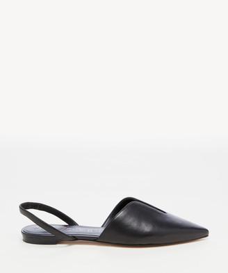 Sole Society Women's Tayja Deep V Slingback Flats Black Size 5 Haircalf From