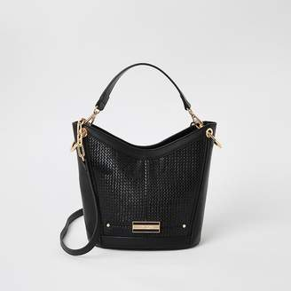 River Island Black weave cross body bucket bag