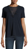 Elie Tahari Brielle Tie-Back Floral Applique Knit Top