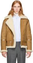 Acne Studios Tan Shearling Ian Aviator Jacket